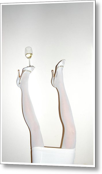 Low Section Of Woman Balancing Wine Metal Print by Kostis Fokas / Eyeem