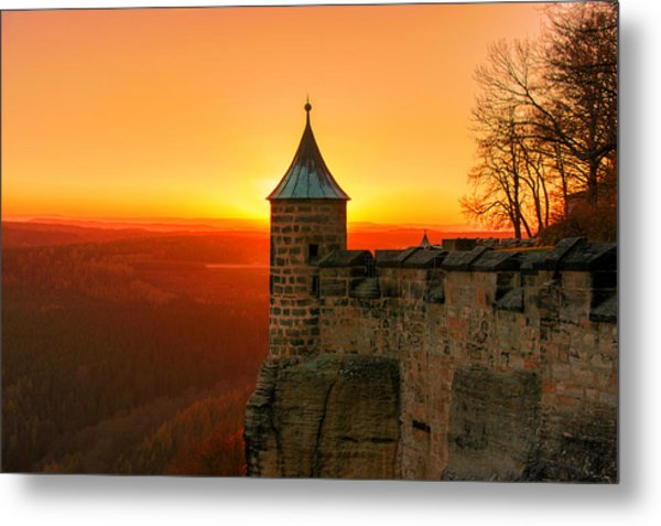 Low Sun On The Fortress Koenigstein Metal Print