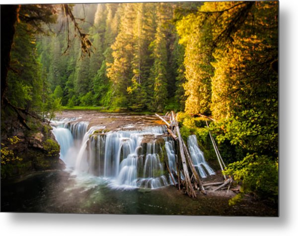 Lower Lewis River Falls Sunrise Metal Print
