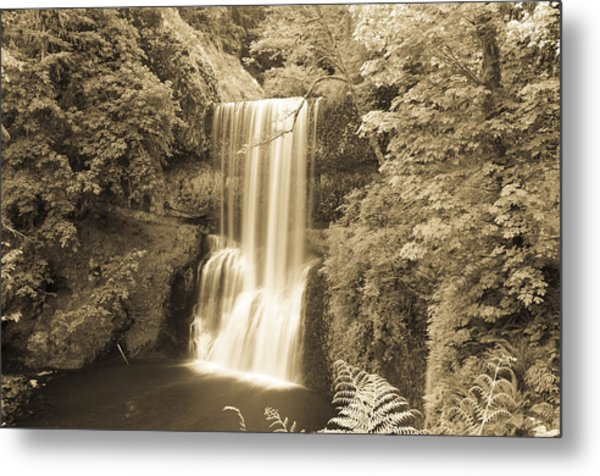 Lower South Falls In Sepia Metal Print