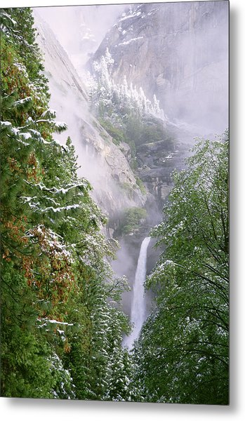 Lower Yosemite Falls After A Spring Storm Metal Print