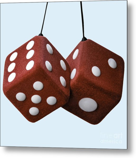 Lucky Fuzzy Red Dice  Metal Print