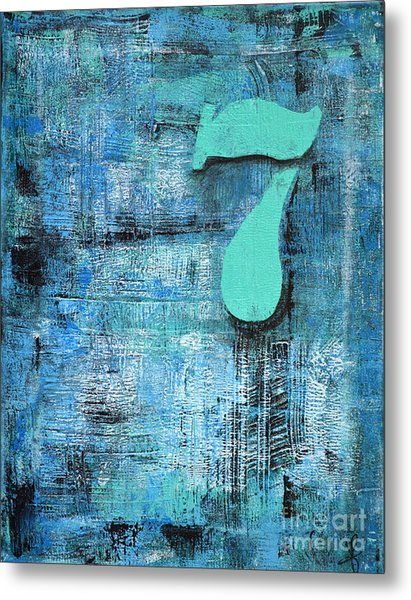 Lucky Number 7 Blue Turquoise Abstract By Chakramoon Metal Print by Belinda Capol