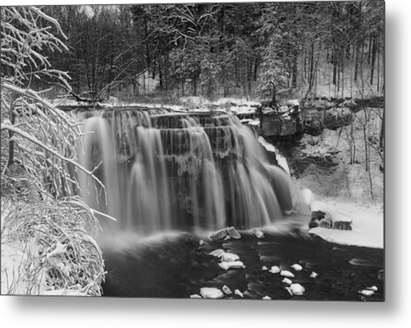 Ludlowville Falls In Winter I Metal Print