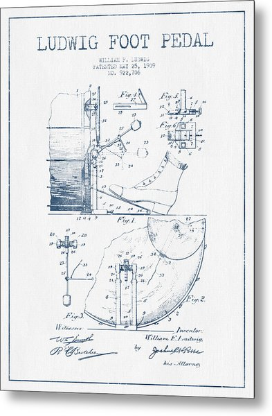 Ludwig Foot Pedal Patent Drawing From 1909 - Blue Ink Metal Print