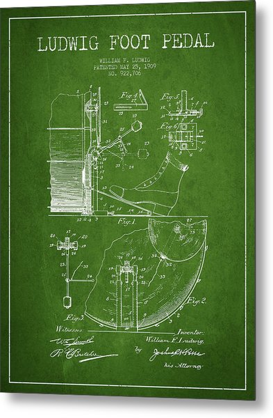 Ludwig Foot Pedal Patent Drawing From 1909 - Green Metal Print