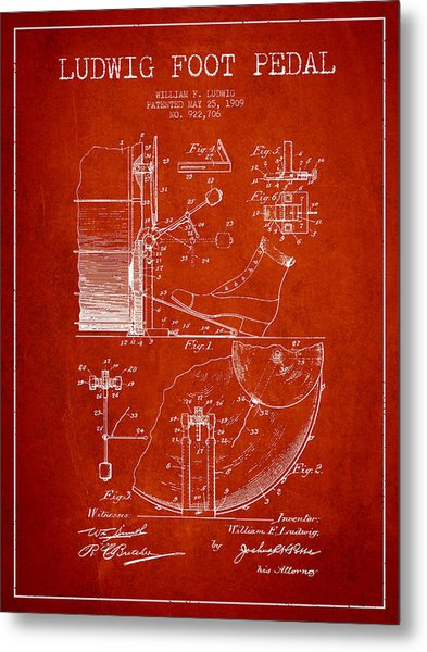 Ludwig Foot Pedal Patent Drawing From 1909 - Red Metal Print