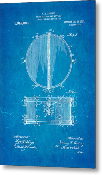 Ludwig Snare Drum Patent Art 1912 Blueprint Metal Print