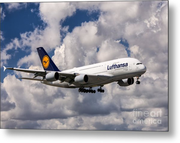 Lufthansa A380 Hamburg Metal Print