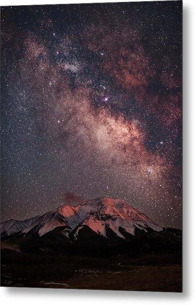 Lunar Alpenglow And Milky Way Skies At Metal Print