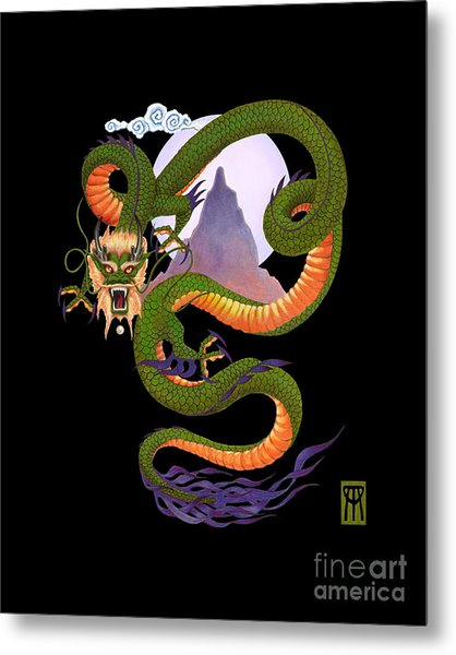 Lunar Chinese Dragon On Black Metal Print
