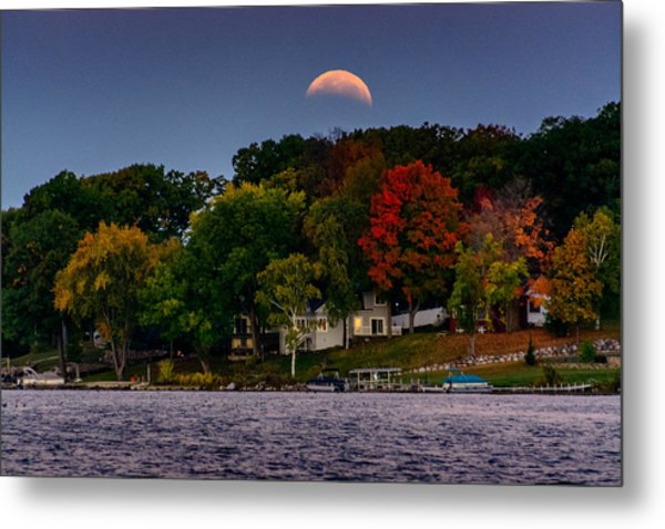 Lunar Eclipse Over Pewaukee Lake Metal Print