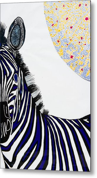 Lunar White Zebra Metal Print by Patrick OLeary