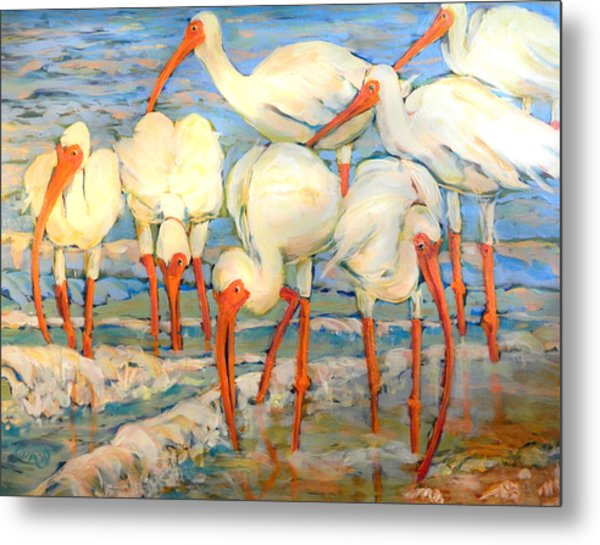 Lunch On The Beach With Friends  Metal Print