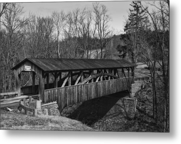 Luther's Mill Covered Bridge Black And White Metal Print
