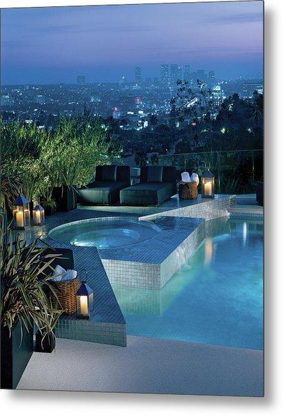 Luxurious Swimming Pool Metal Print