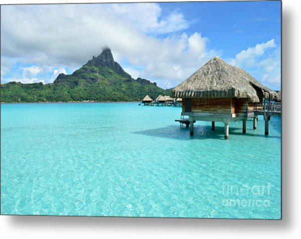 Luxury Overwater Vacation Resort On Bora Bora Island Metal Print