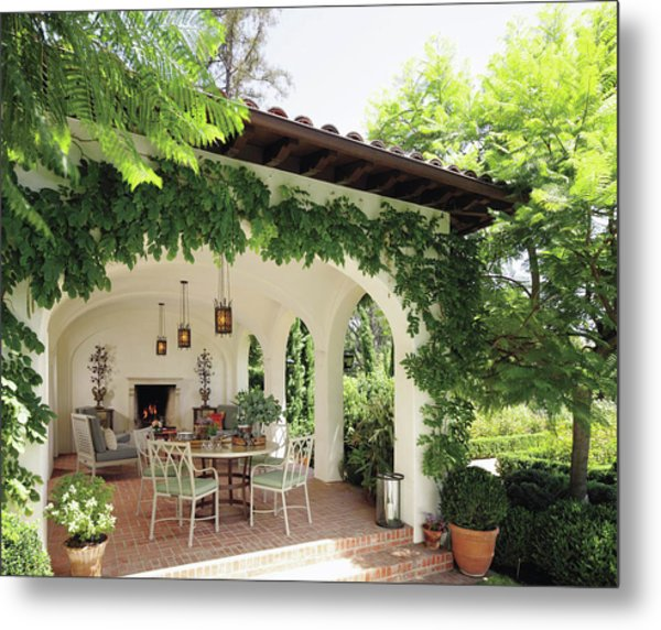 Luxury Villa Near Green Garden Metal Print
