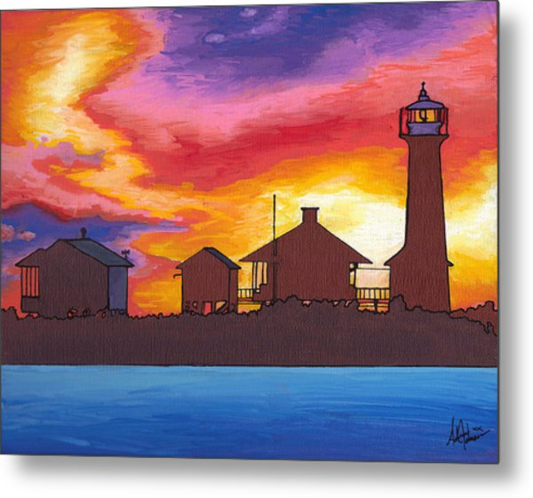 Lydia Anne Lighthouse At Sunset Metal Print