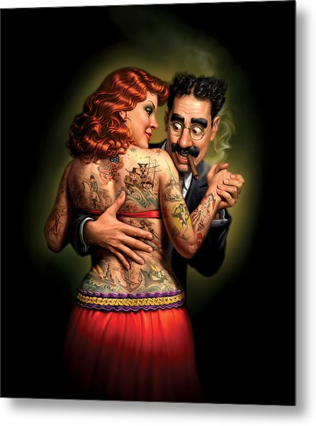 Lydia The Tattooed Lady Metal Print