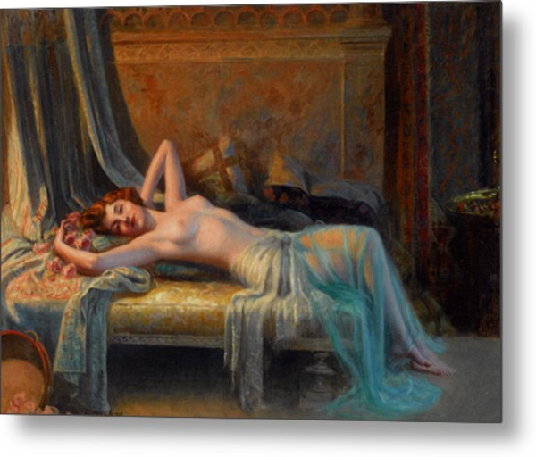 Lying Nude In A Bed Of Roses Metal Print