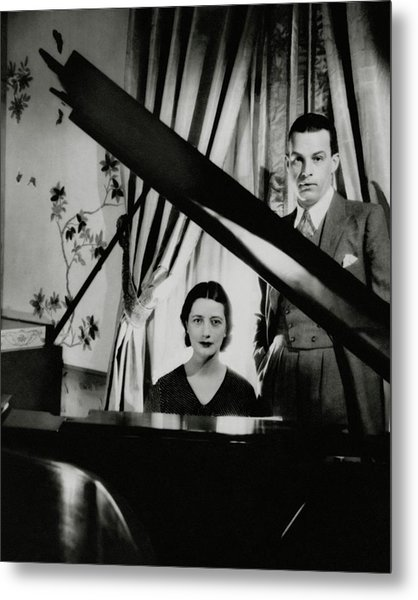 Lynn Fontanne And Alfred Lunt At A Piano Metal Print by Cecil Beaton