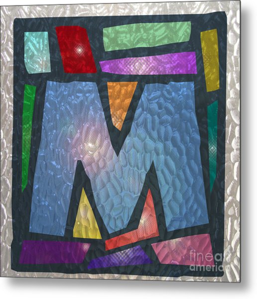 M As Stained Glass Metal Print
