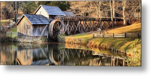 Mabry Grist Mill Fall Panorama Metal Print