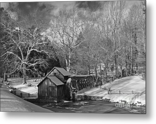 Mabry Mill In Snow Metal Print