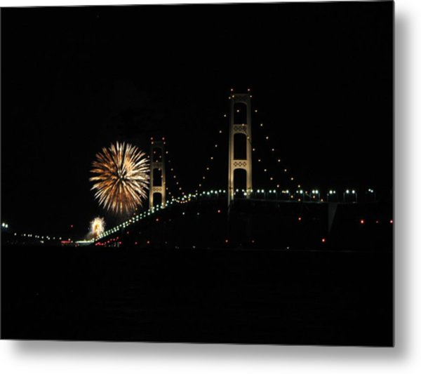Mackinac Bridge 50th Anniversary Fireworks Metal Print