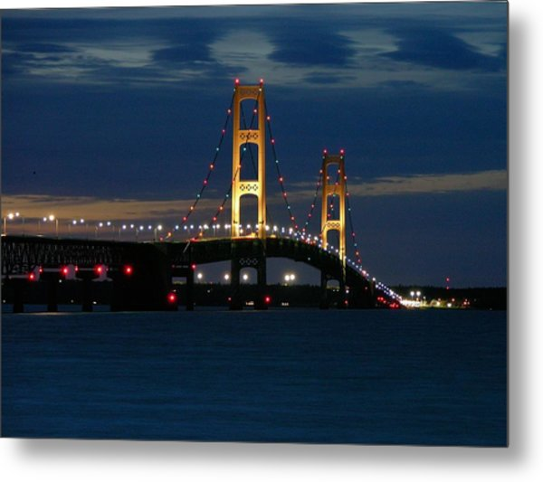 Mackinac Bridge At Dusk Metal Print