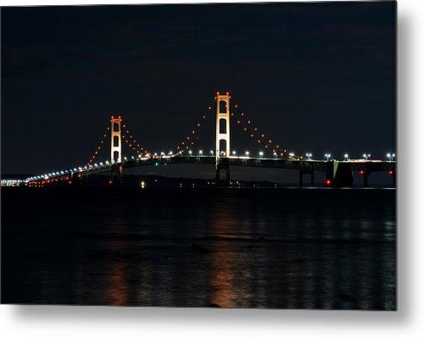 Mackinac Bridge At Night Metal Print by Keith Stokes
