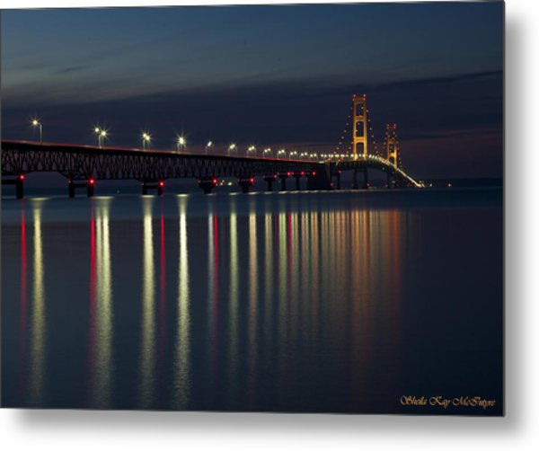 Mackinac Bridge At Night Metal Print