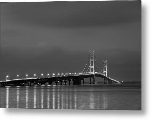 Mackinac Bridge Black And White Metal Print