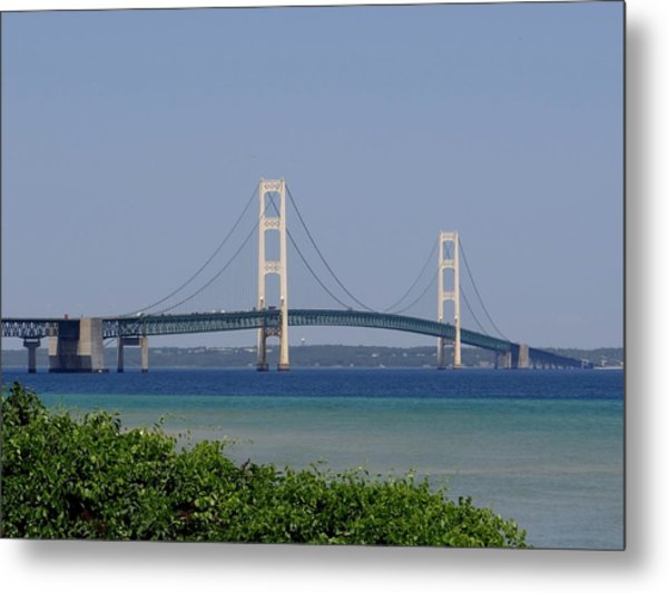 Mackinac Bridge Blue Metal Print