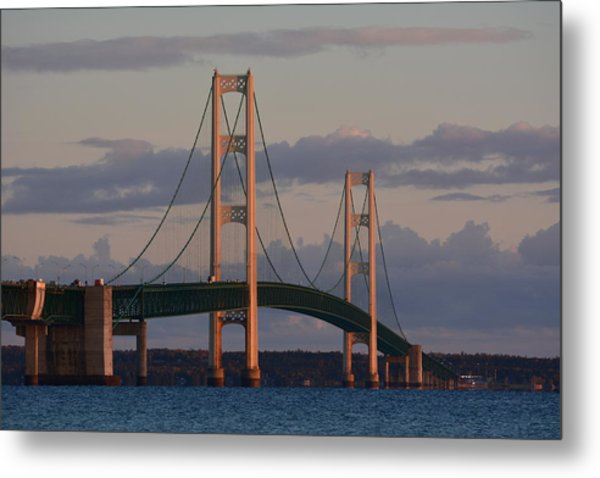 Mackinac Bridge In The Morning Sun Metal Print by Keith Stokes