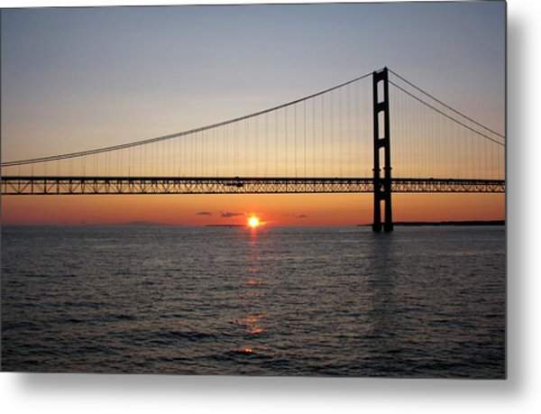 Mackinac Bridge Sunset Metal Print