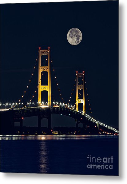 Mackinac Bridge With Moonrise Metal Print by Todd Bielby