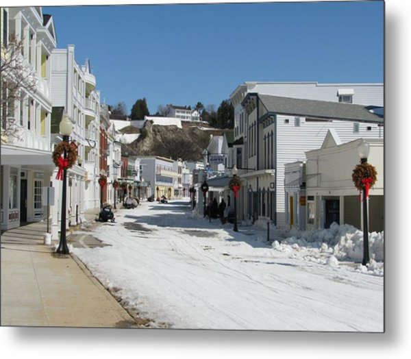 Mackinac Island In Winter Metal Print