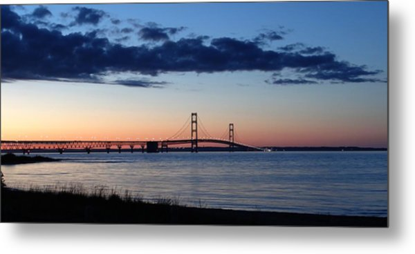 Mackinaw Bridge Twilight Metal Print