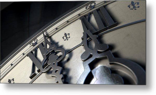 Macro Antique Clock Midnight Metal Print