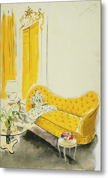 Madame Luce On A Yellow Sofa Metal Print