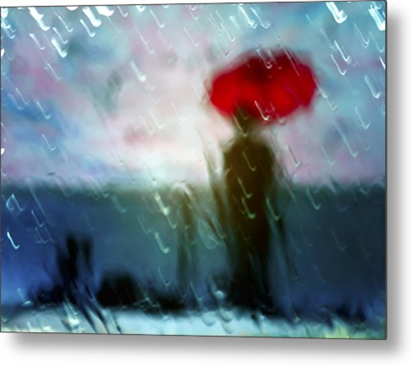 Madame With Umbrella Metal Print