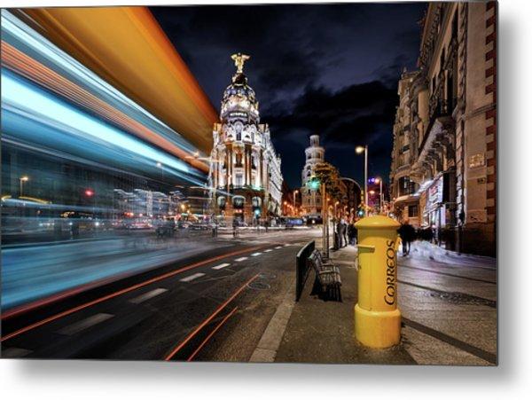 Madrid City Lights IIi Metal Print