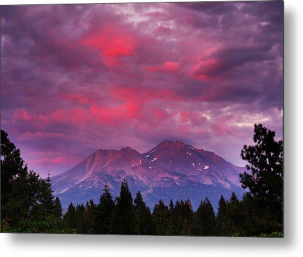 Magenta Sunset Mount Shasta Metal Print by Jeff Leland