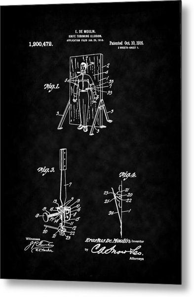 Magic - 1916 Knife Trowing Illusion Patent Metal Print by Barry Jones