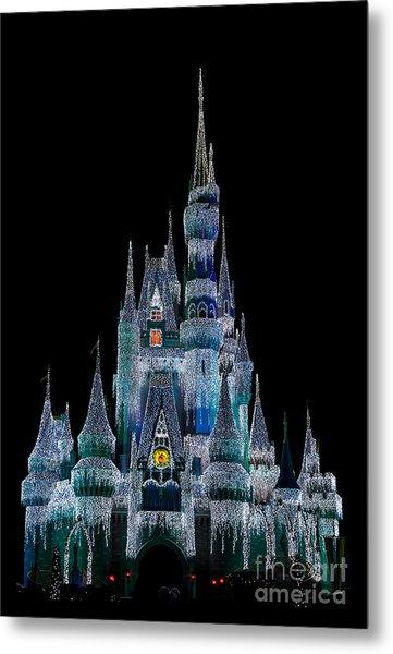 Magic Kingdom Castle Frozen Blue Frost For Christmas Metal Print