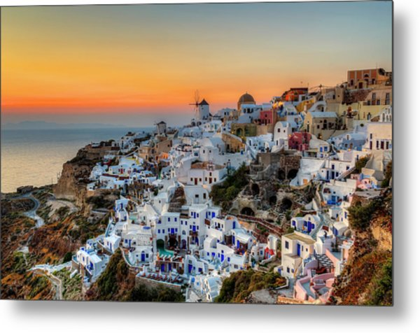 Magic Sunset In Santorini Metal Print by George Papapostolou Photographer