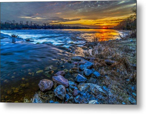 Magic Sunset Over Narew River Metal Print