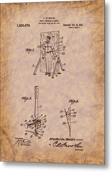 Magician - 1916 Knife Trowing Illusion Patent Metal Print by Barry Jones